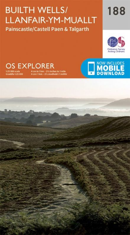 OS Explorer 188 - Builth Wells / Llanfair Ym Mauallt, Painscastle / Castell Paen & Talgarth